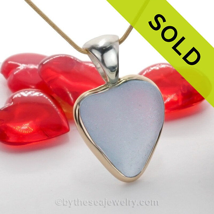 Pure Love - Baby Blue Natural Sea Glass Heart In Deluxe Tiffany Mixed Metal Bezel© Necklace Pendant