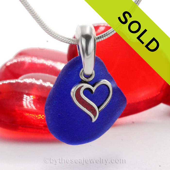Classic Cobalt Blue Sea Glass Necklace with beach found glass and Solid Sterling Red Enameled Heart Charm and INCLUDING Solid Sterling Silver Snake chain.