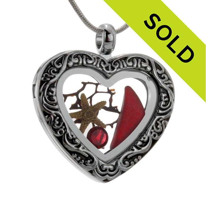 Real Ruby Red Beach Found Sea Glass Heart Locket Necklace , Starfish & Ruby Crystal Gem (LOCK21-16)