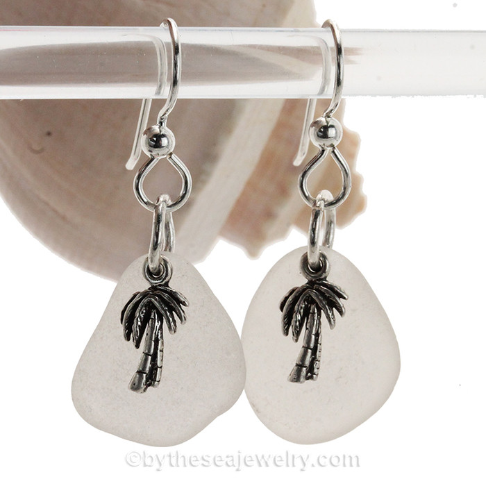 Larger Sea Glass Earrings In White on Sterling Silver With S/S Palm Tree Charms