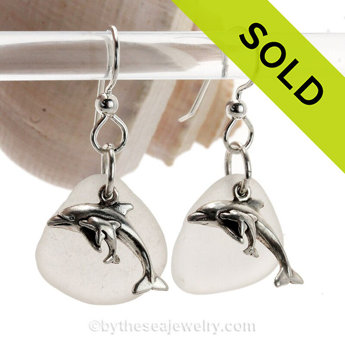 Sea Glass Earrings In White on Sterling Silver With S/S Mom and Baby Dolphin Charms