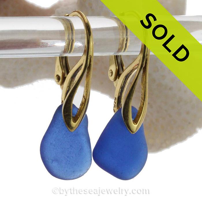 Petite pieces of Cobalt Blue Sea Glass on 24K Gold Vermeil Deco Leverbacks