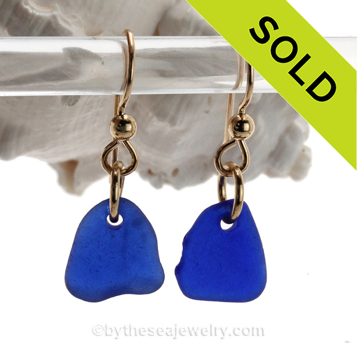 Petite pieces of Cobalt Blue Sea Glass on 14K Goldfilled Earwires