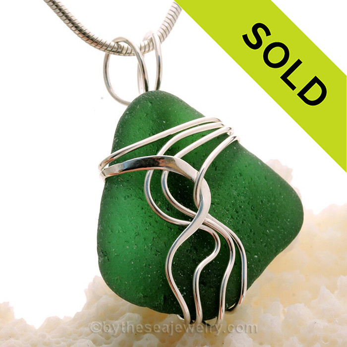Deep Saturated Green Genuine Sea Glass Sterling Waves© Signature Sterling Setting Pendant