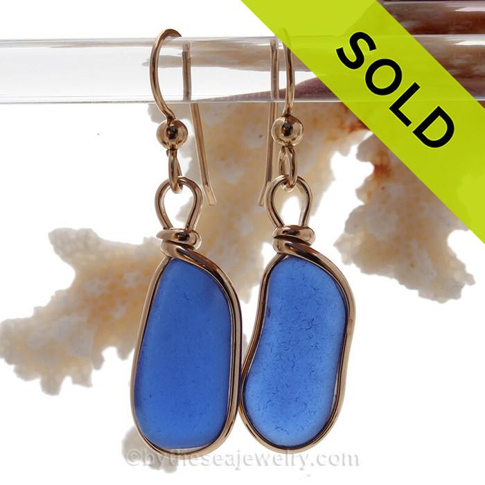 Long Cobalt Blue Genuine Caribbean Sea Glass Earrings In Gold Original Wire Bezel©