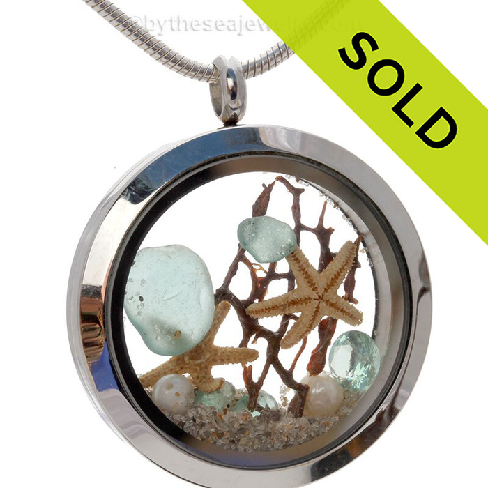 Genuine beach found Aqua Sea Glass Locket With Starfishes & Aquamarine Crystal Gem - March Birthstone