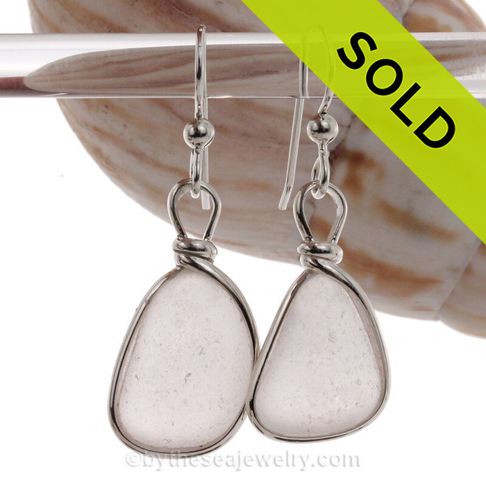 Natural UNALTERED Larger White Sea Glass Earrings set in our Original Wire Bezel© setting in solid sterling silver.