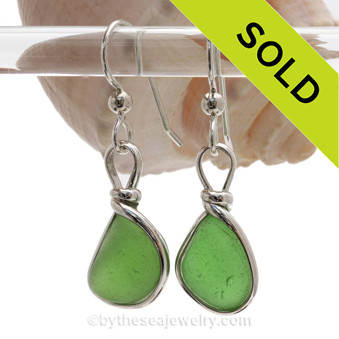 PERFECT Genuine beach found Bright Green Sea Glass Earrings in a Solid Sterling Silver Original Wire Bezel© setting. This is a perfect sea glass in a natural state, just the way it was found on the beach!