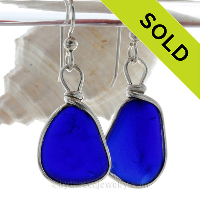 LARGE  Thick Cobalt  Blue Sterling English Sea Glass Earrings In Sterling Original Wire Bezel©