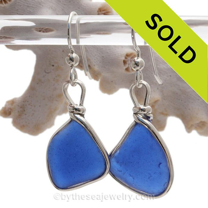 Cobalt  Blue Sterling English Sea Glass Earrings In Sterling Original Wire Bezel©