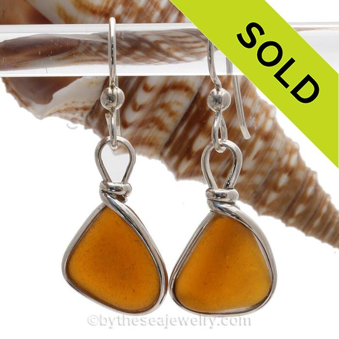 Smaller Amber Brown Genuine Sea Glass Earrings In Sterling Original Wire Bezel©