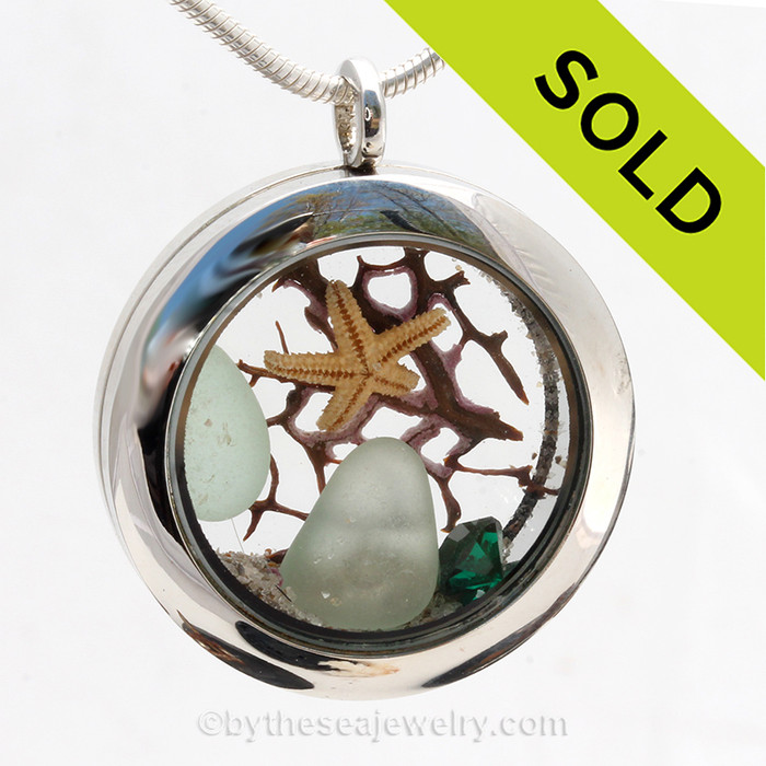 May Beach Lover  - Genuine Seafoam Sea Glass, Starfish & Emerald Crystal Gem