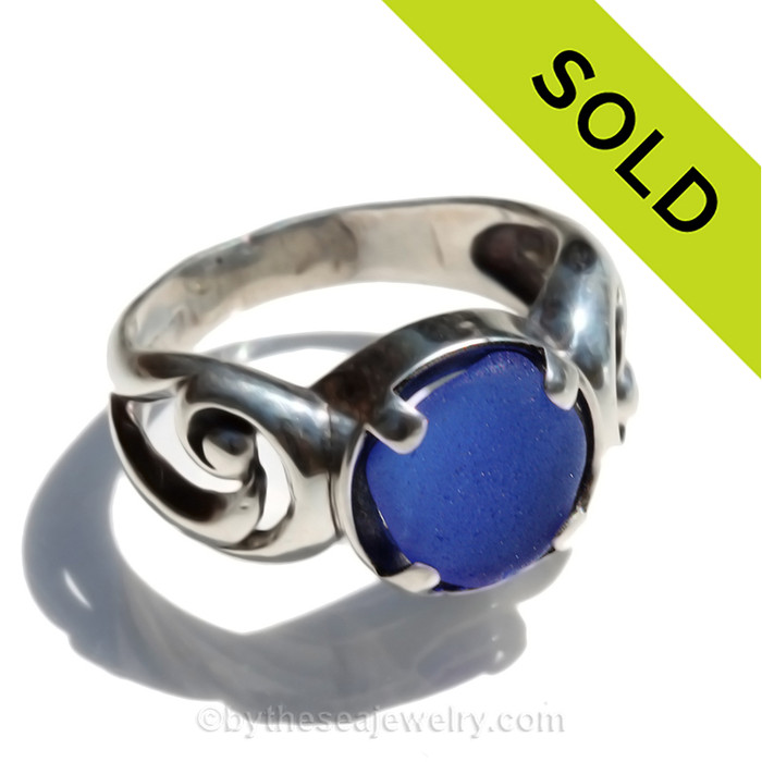 LOW PROFILE - Perfect Beach Found Blue Sea Glass In Sterling Silver Dome Ring