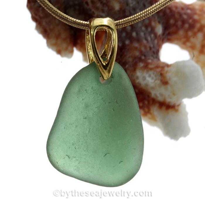 Simple fresh and lovely Soft Green Sea Glass on a 24K gold Vermeil bail and a 14K Goldfilled Necklace.