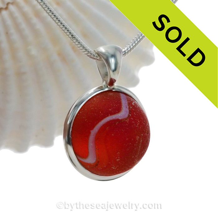 Unusual Super Ultra Rare Orange/Red and White Marble Pendant In Deluxe Solid Silver Sterling Wire Bezel.