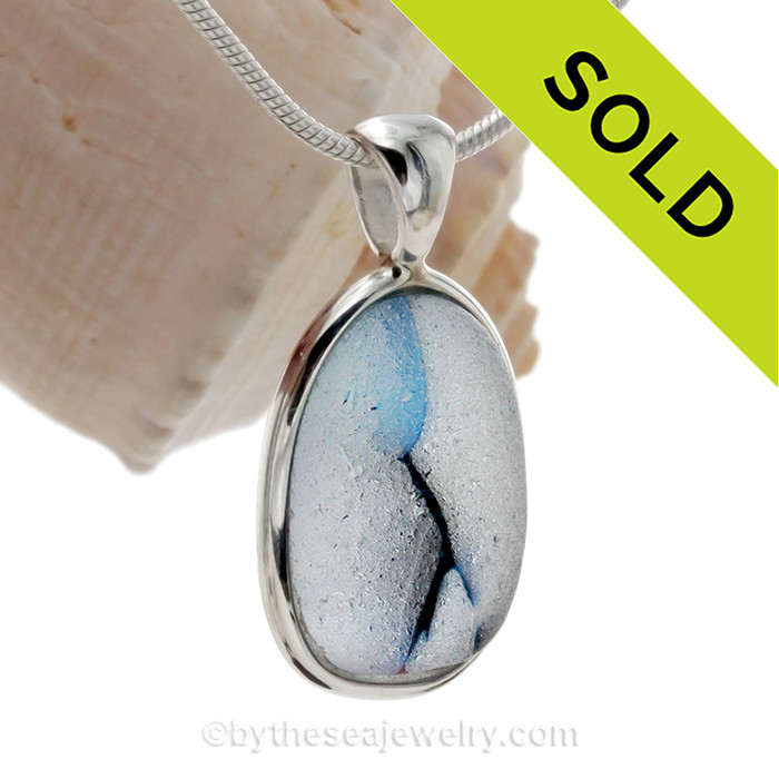 Cross Sectioned Royal Blue English Art Sea Glass In Solid Sterling Silver Deluxe Wire Bezel©