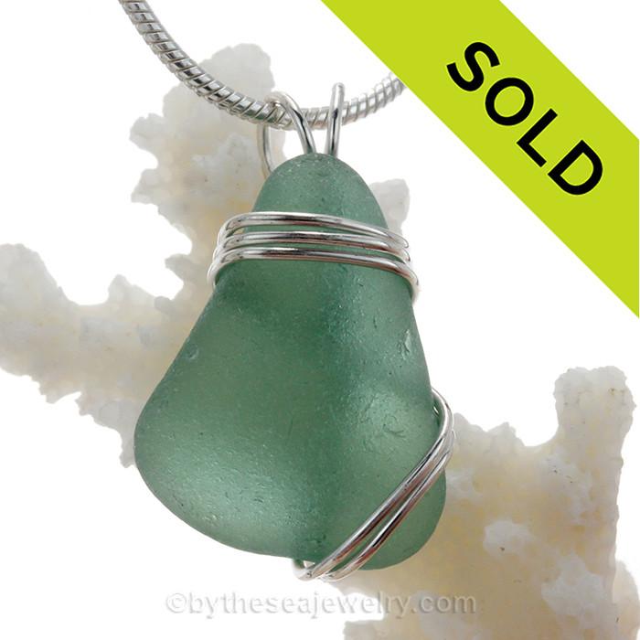A simple Fresh Aqua Green Sea glass Pendant set in our triple sterling silver setting.