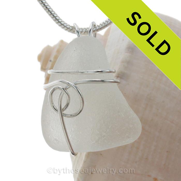 White Genuine Sea Glass Pendant In Sterling Silver Sea Swirl Wrap