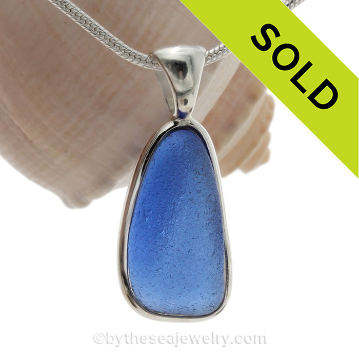 Bright  Blue Sea Glass Bottle Bottom In a Solid Sterling Silver Wire Bezel© Necklace Pendant