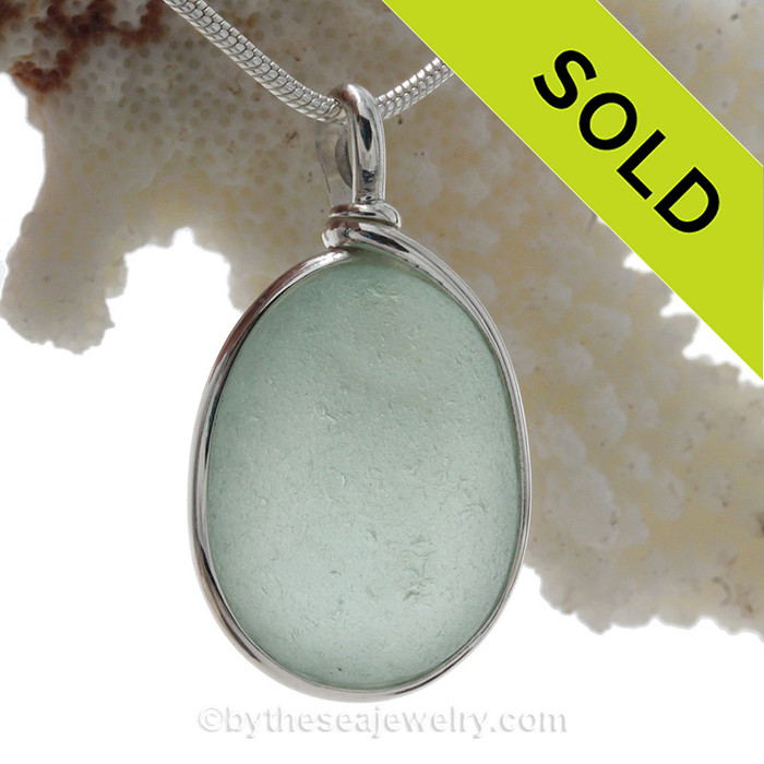 Just about Perfect Pale Aqua Green Genuine Sea Glass Pendant in our Original Wire Bezel© in Sterling Silver