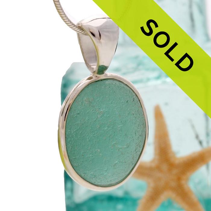 Sorry this vivid aqua sea glass necklace pendant has sold!