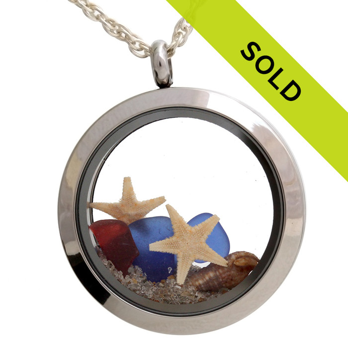 Seeing Stars - Genuine Red White & Blue Sea Glass Locket With Starfishes