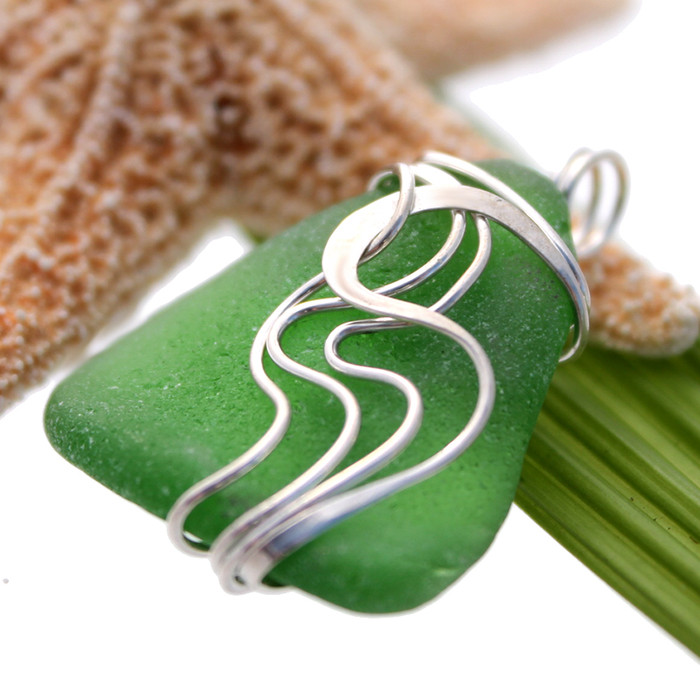 Thick Green Sea Glass In Sterling Waves Setting Our most popular wire design meant to resemble waves in tidal pools.  Perfect and lovely!