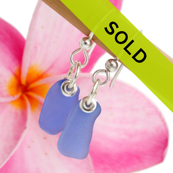 Simply Cobalt Blue Petite Oblong Sea Glass Earrings In Sterling This is the EXACT pair you will receive!