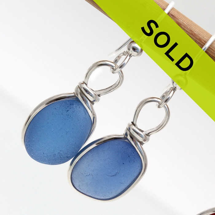 Sorry this beautiful pair of blue sea glass earrings has been sold!