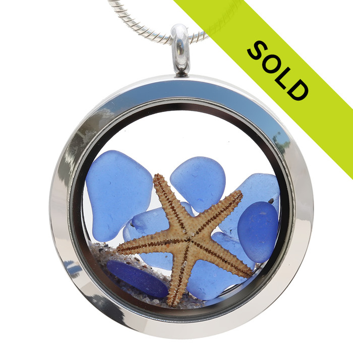 Me & The Sea  -  Real Blue Sea Glass Locket With Two Starfish