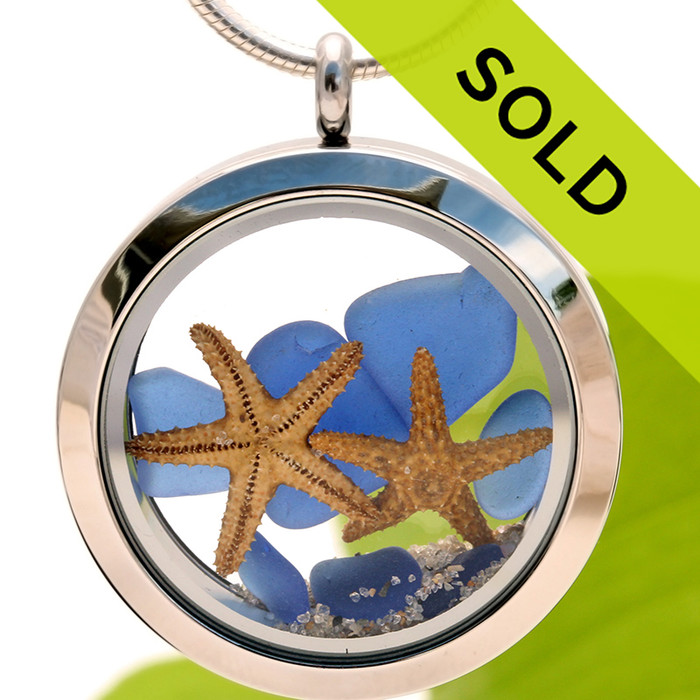 Two for the Beach - Genuine Blue Sea Glass, Starfish and Beach Sand Locket