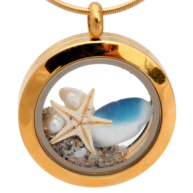 Sea Glass Lockets In Gold