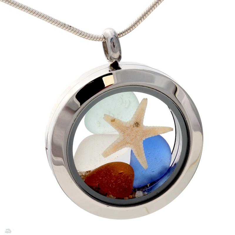 Sea Glass Lockets In Silver