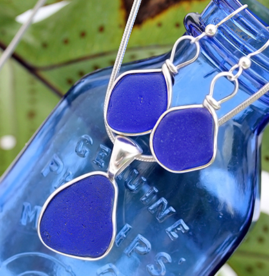 blue-sea-glass-set-in-sterling-bezel - earrings and necklace