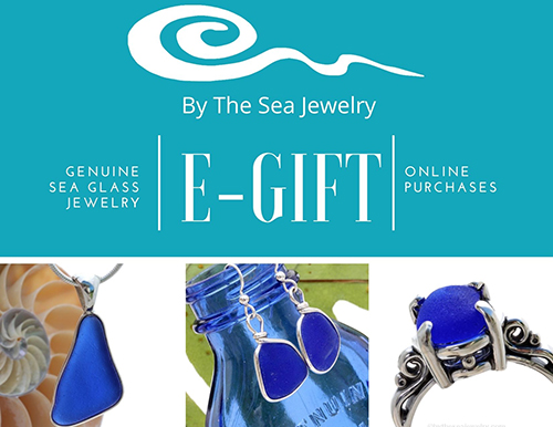 sea glass jewelry on model in cobalt blue examples of by the sea gifts