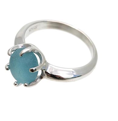 genuine-sea-glass-ring. in blue