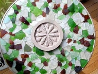 table with sea glass