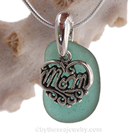 sea-glass-jewelry-for-mothers-day. aqua green beach glass with MOM charm