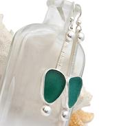 Fine set aqua sea glass earrings  in silver