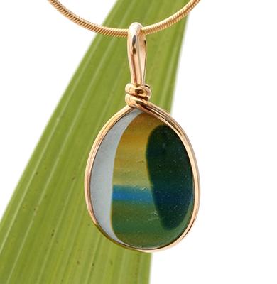 Ultra Rare Seaham Multi sea glass piece in a gold bezel pendant