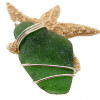 Large beautiful piece of real naturally found sea glass in a secure setting that maximizes the bling of gold but leaves most of the sea glass open.
