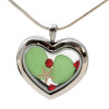 Vivid Green beach found sea glass pieces combined with a real starfish and bright red gems in a feminine heart shaped locket magnetic stainless steel locket necklace!