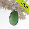 Deep Seaweed Green Sea Glass In Original Silver Wire Bezel© Wire Pendant (SBEZEL108)