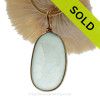 LARGE and Flat Pale Aqua Blue Genuine Sea Glass Pendant In Gold Wire Bezel© Pendant