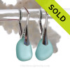 Genuine Beach Found Perfect Petite Thick  Aqua Sea Glass Earrings on Solid Sterling Silver Leverbacks