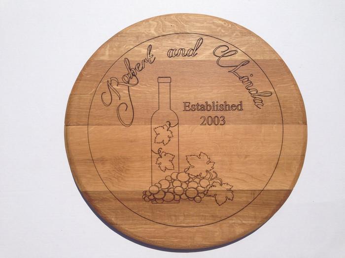 Couples Wine Barrel Top (Custom Laser Engraved)