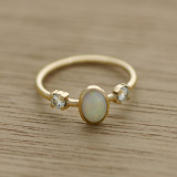white opal wedding ring