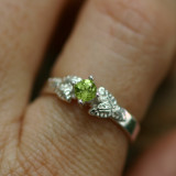 peridot leaf wedding ring