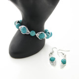 Turquoise wire wrap earrings  + matching bracelet