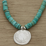 Turquoise roman coin necklace